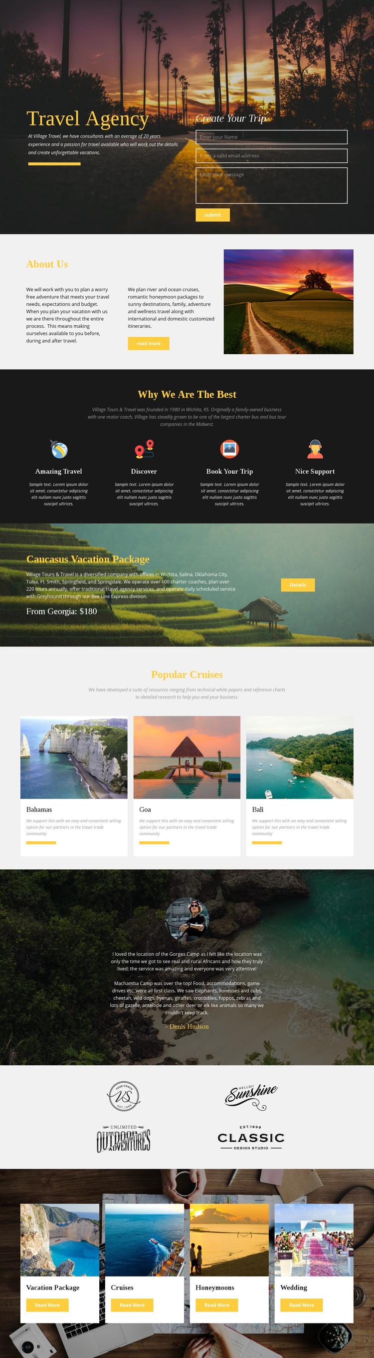 African safari tour company Homepage Design