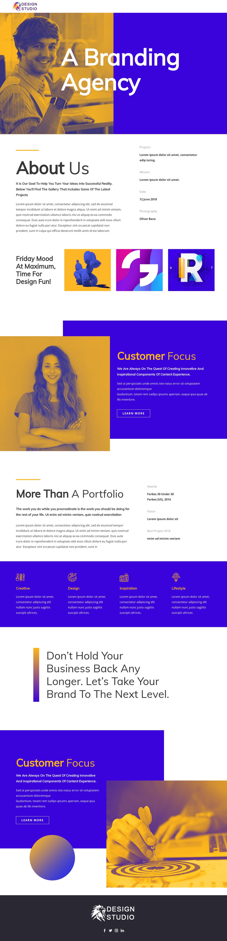Branding agency for startup One Page Template
