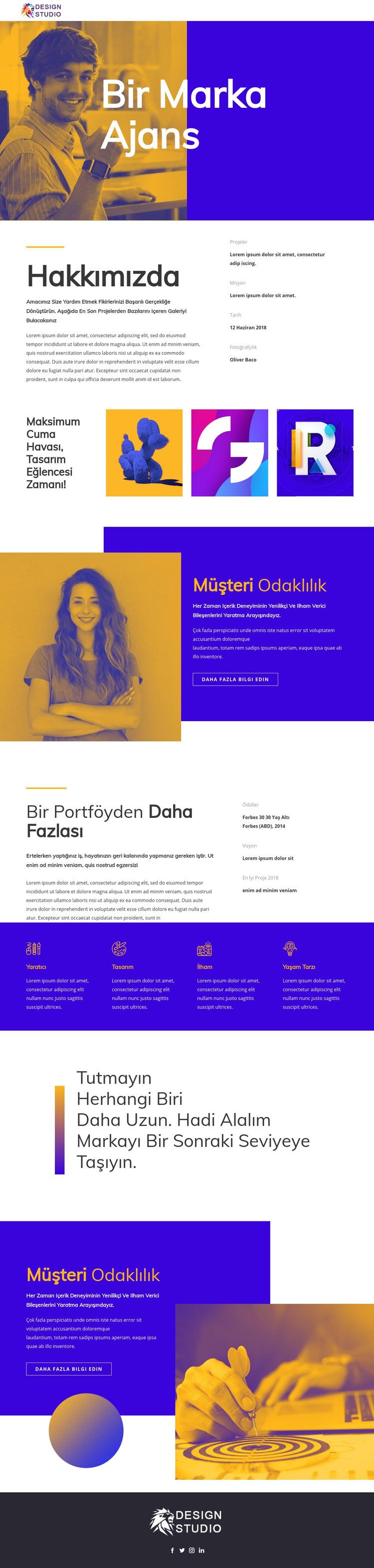 Başlangıç için marka ajansı Web Sitesi Şablonu