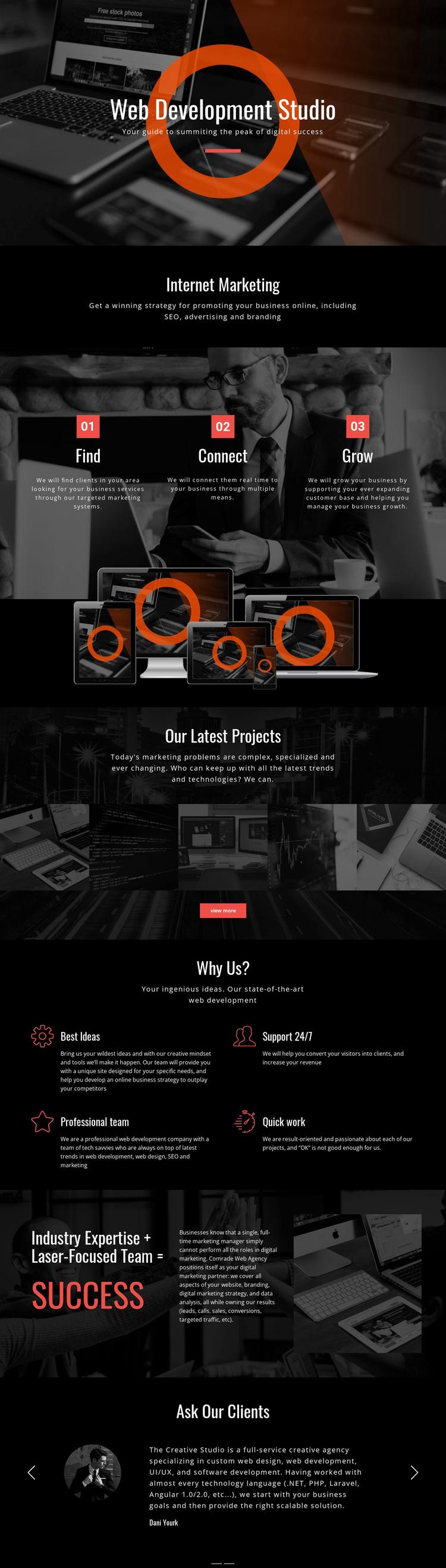 Modern web technology Landing Page