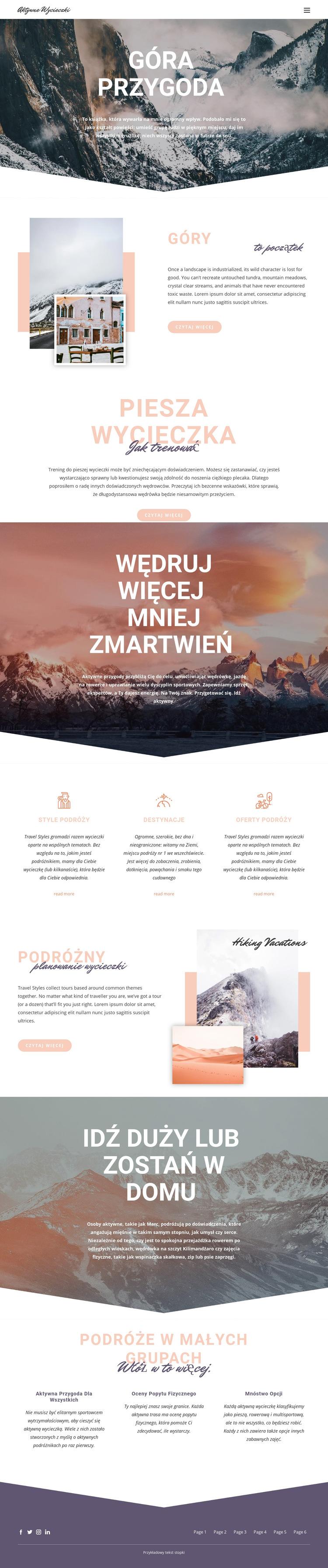 Górska przygoda Szablon witryny sieci Web