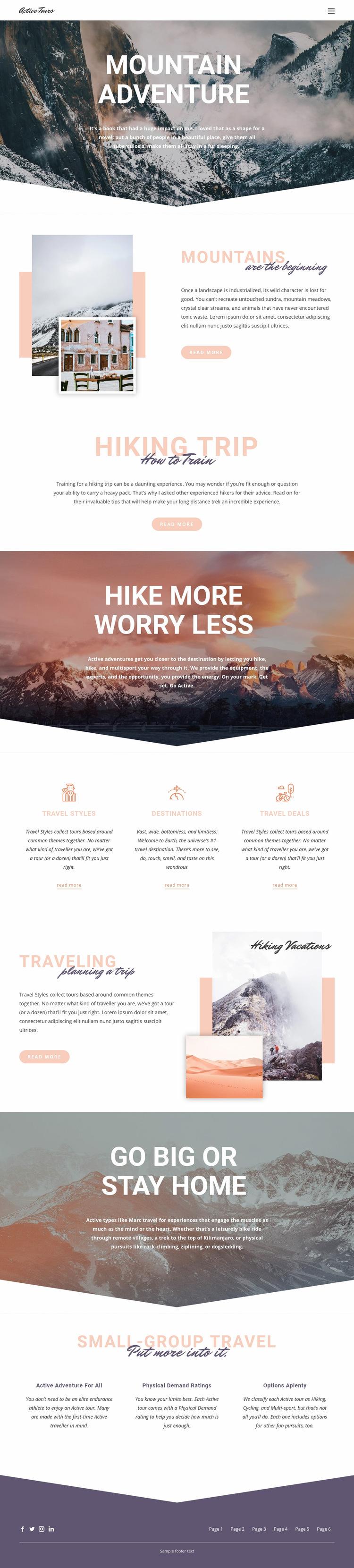 Mountain Adventure Web Page Design