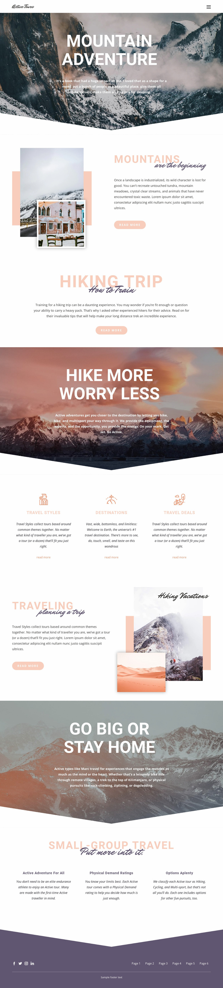 Mountain Adventure Website Design
