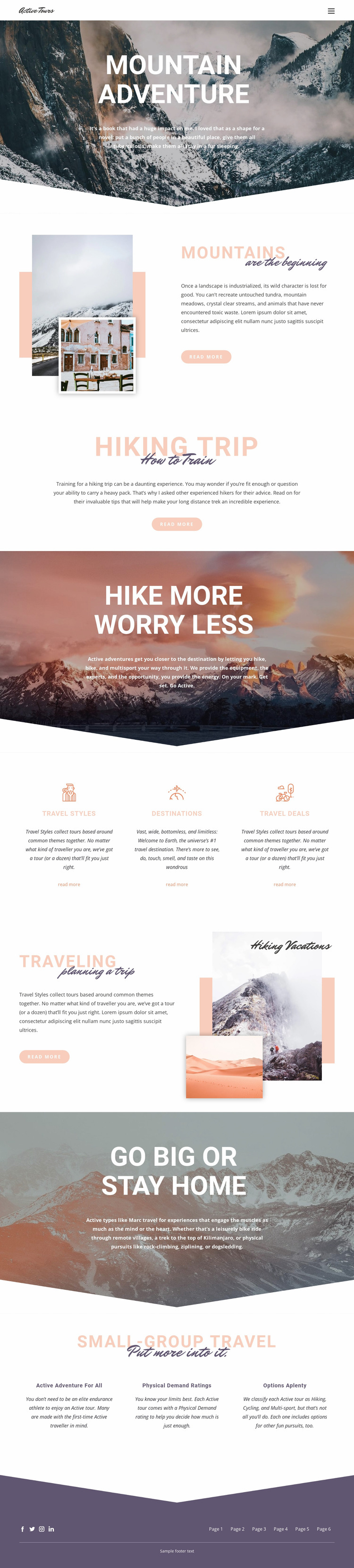 Mountain Adventure Website Mockup