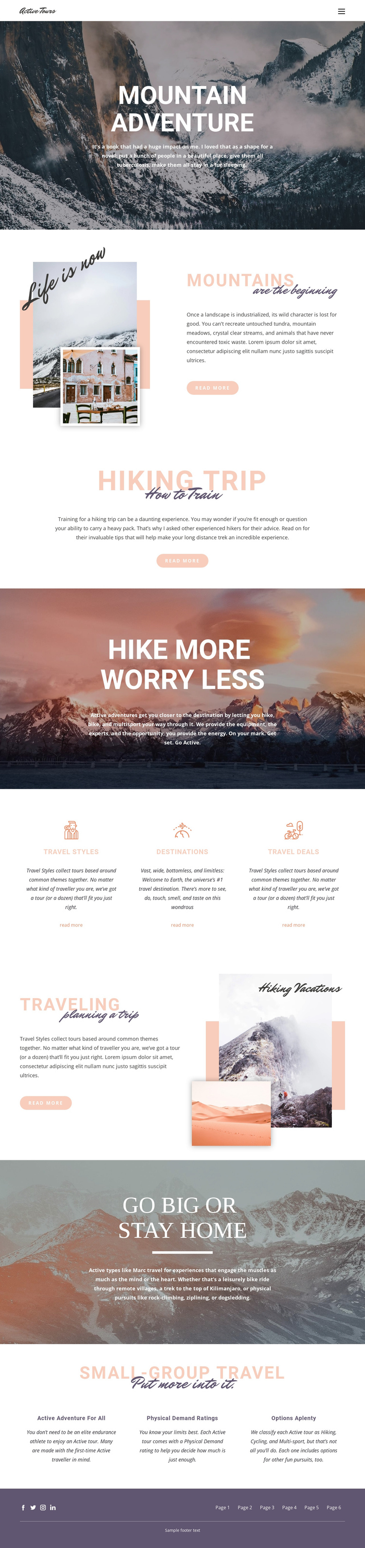 Guided backpacking trips One Page Template