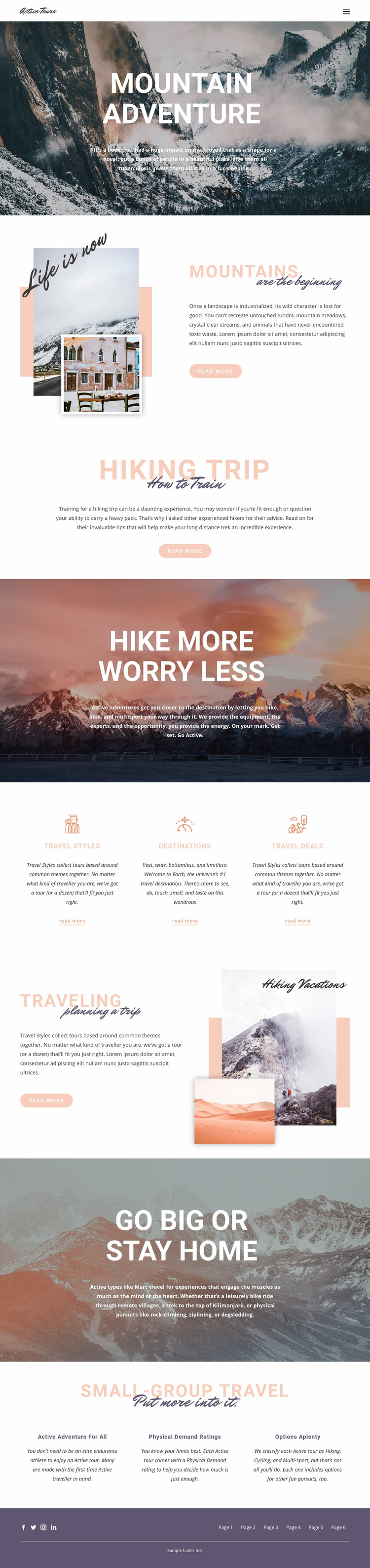Guided backpacking trips Web Page Design