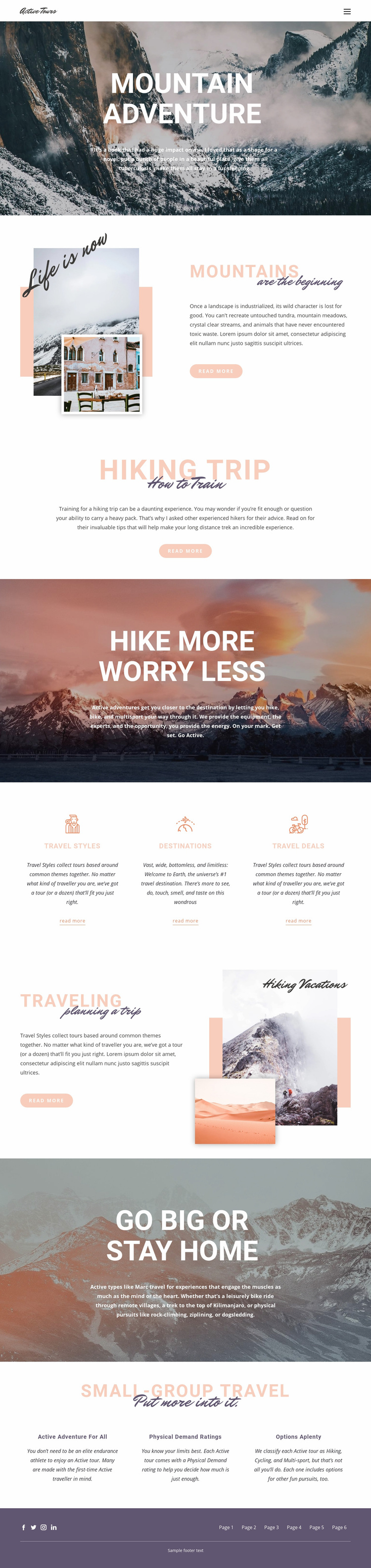 Guided backpacking trips Web Page Designer