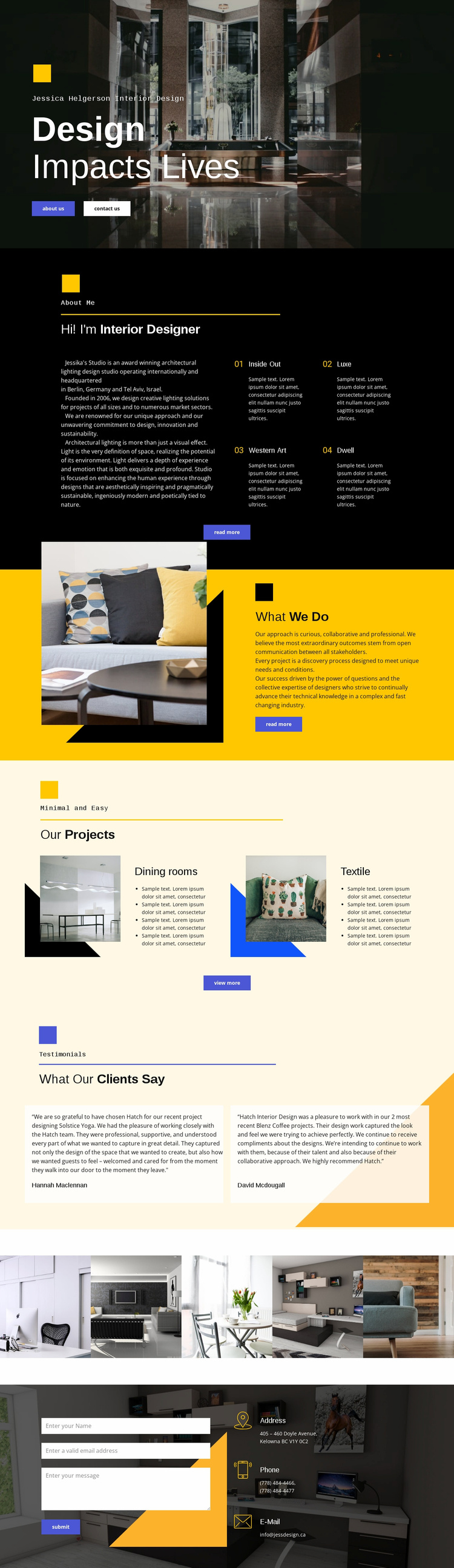 Design affects life Landing Page