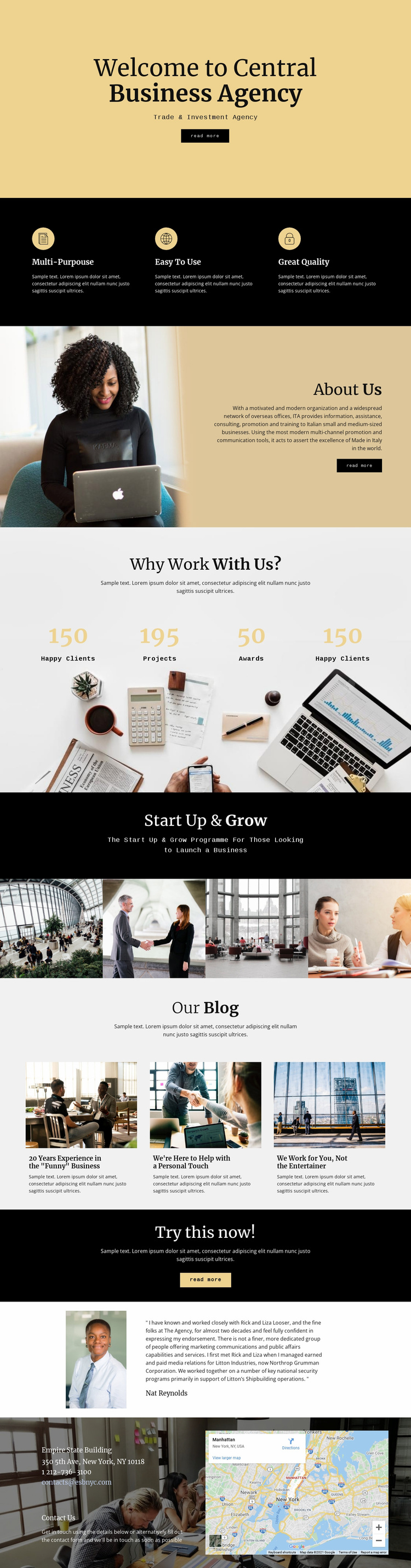 Central digital agency Landing Page