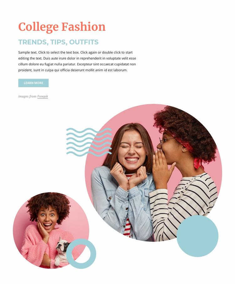 College fashion trends Html Website Builder