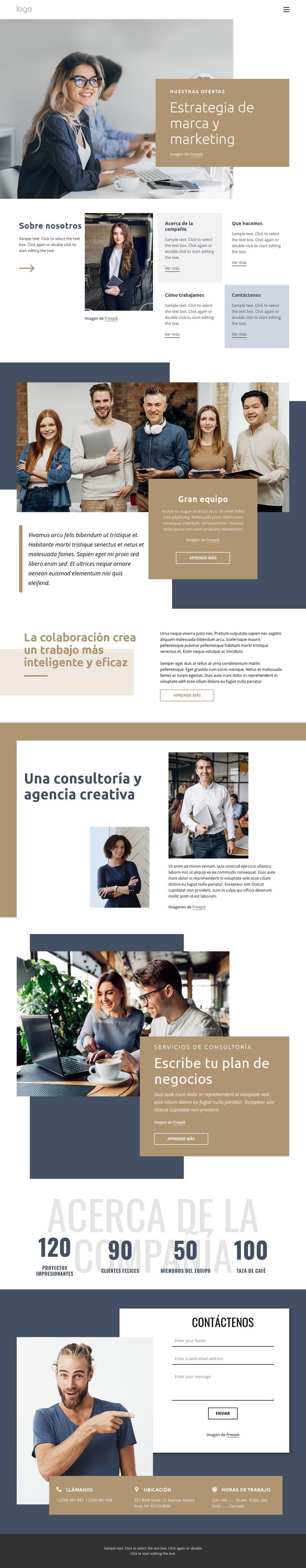 Estrategia de marca y marketing Plantilla de sitio web