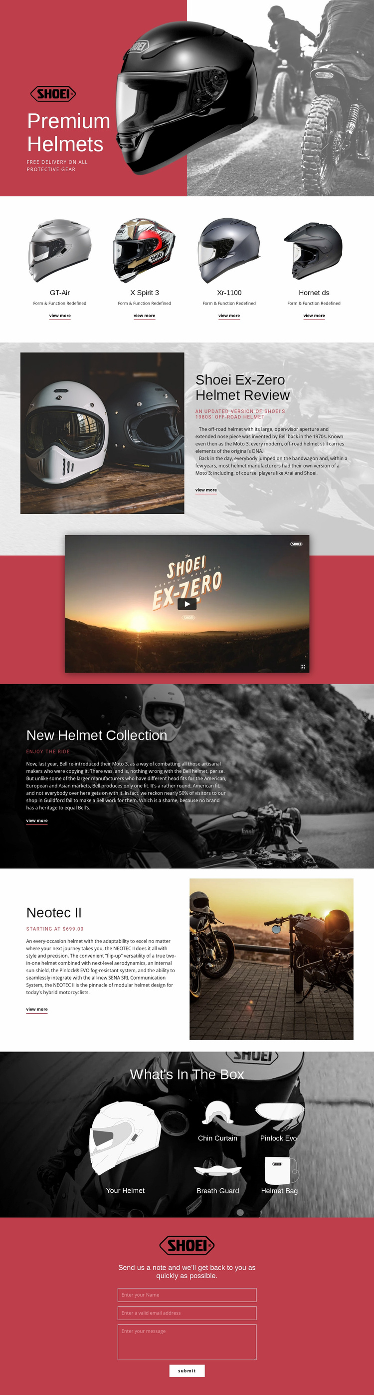 Premium Helmets Landing Page