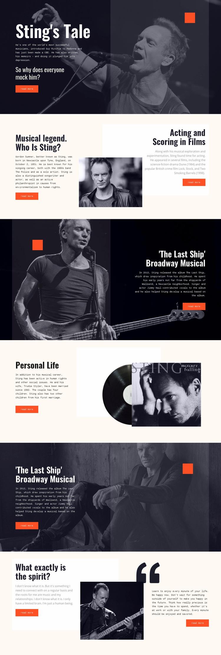 Sting Tale Web Page Design