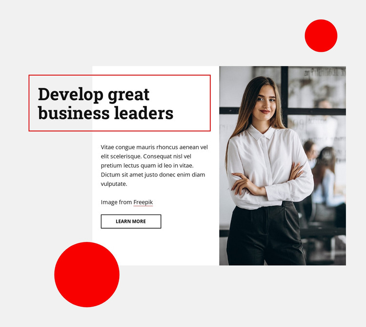 Develop great business leaders HTML Template