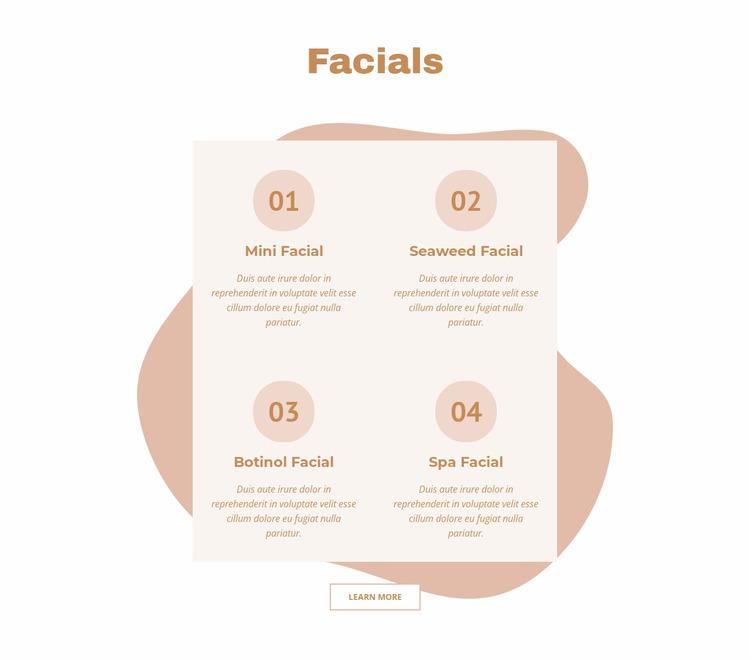 Facials Website Mockup