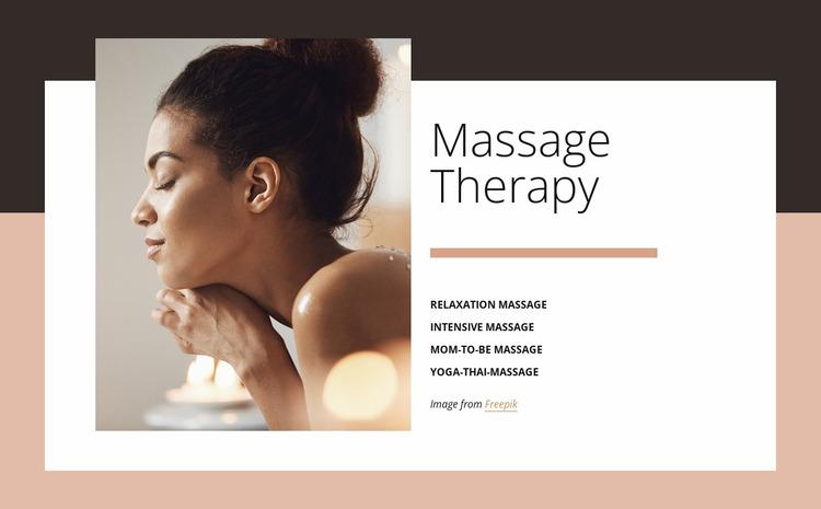 Benefits of massage Website Mockup