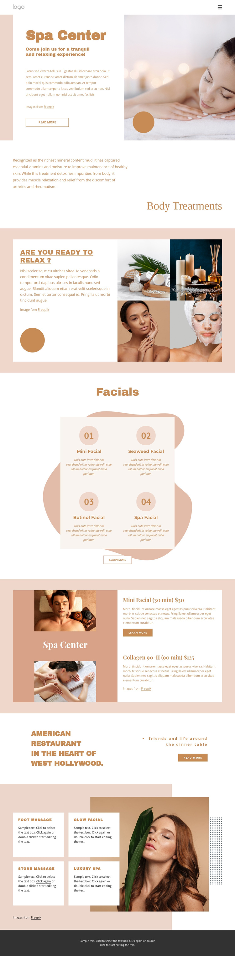 Aromatherapy and fitness spa One Page Template