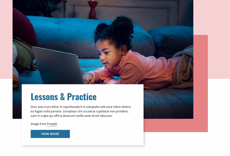 Lessons and practice Website Mockup