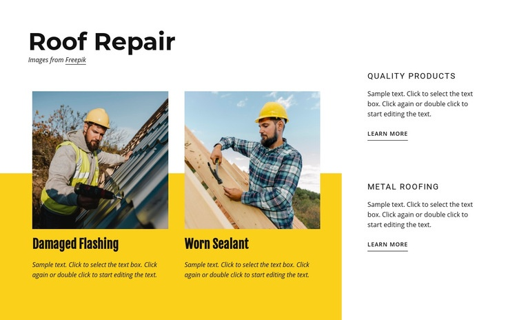 Roof repair services Html Code Example