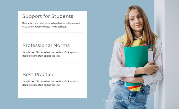 Support for students HTML Template