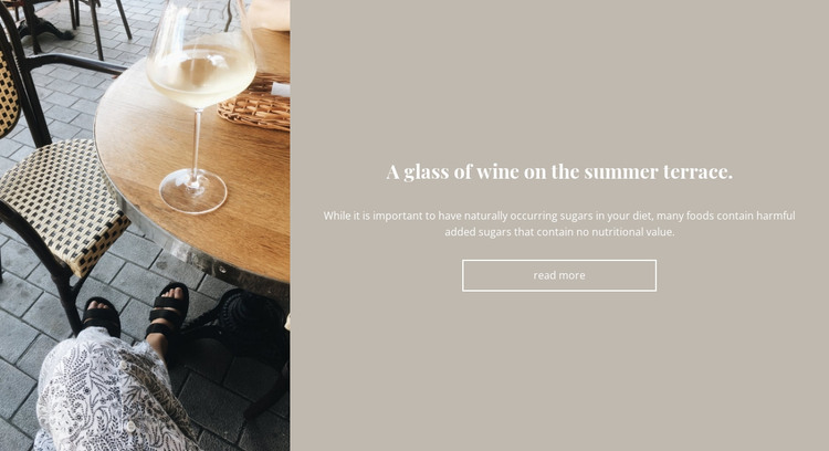 Glass of wine on the terrace HTML Template
