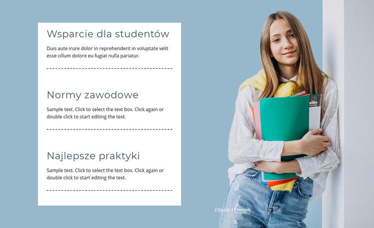 Wsparcie dla studentów Szablon witryny sieci Web