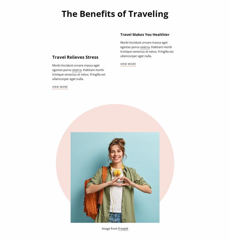 Benefits of traveling Website Template