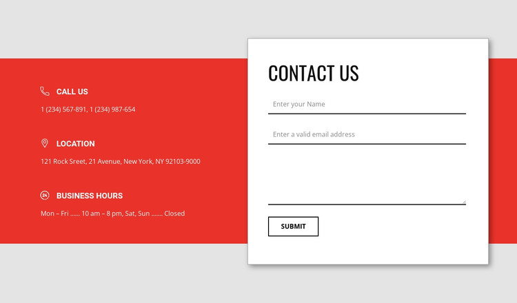 Overlapping contact form HTML Template