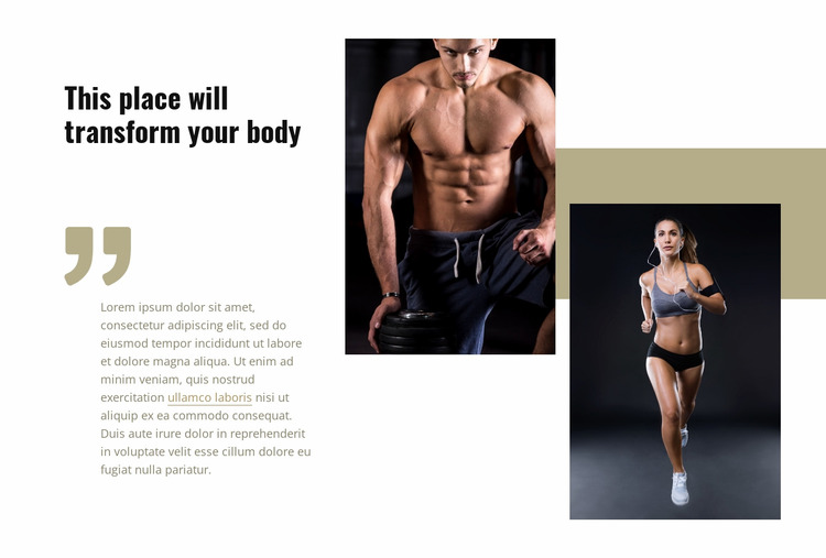 This place will transform your body Html Website Builder