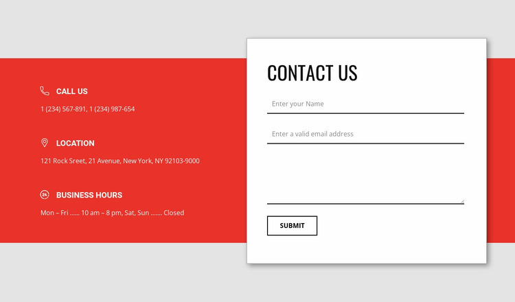 Overlapping contact form Website Mockup
