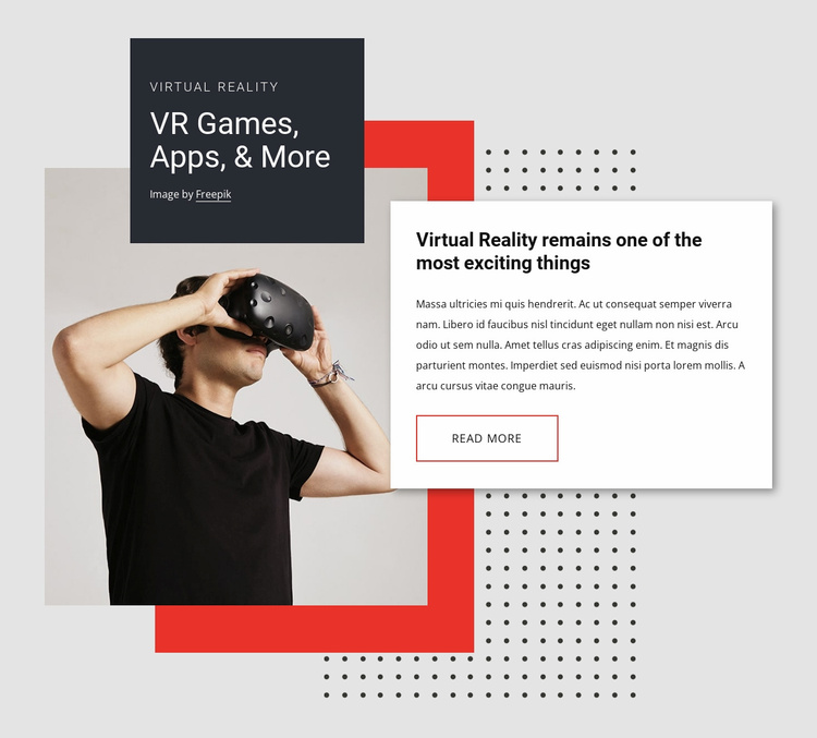 VR games, apps and more Website Template