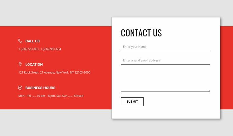 Overlapping contact form WordPress Website Builder