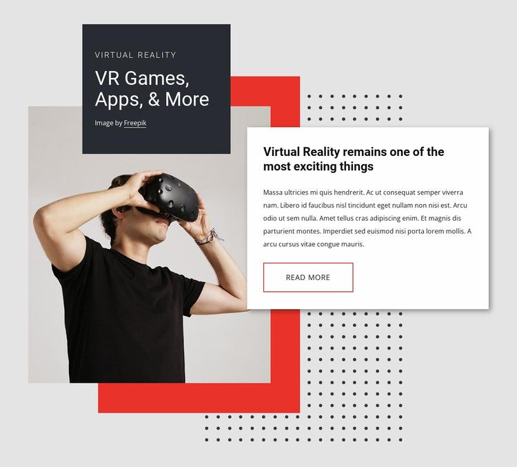 VR games, apps and more WordPress Website Builder