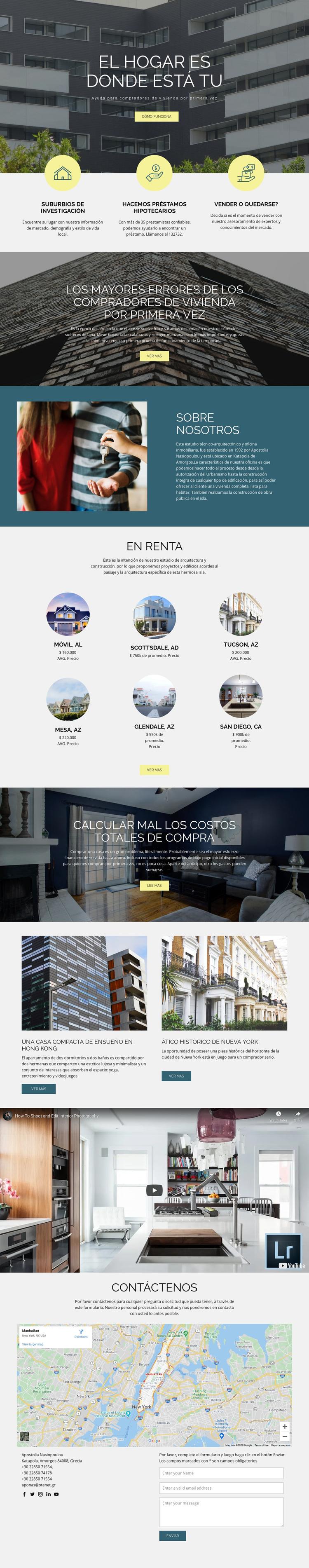 Inicio bienes raíces Tema de WordPress