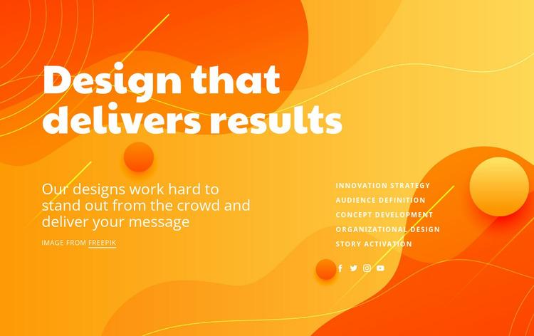 Designing results Website Mockup