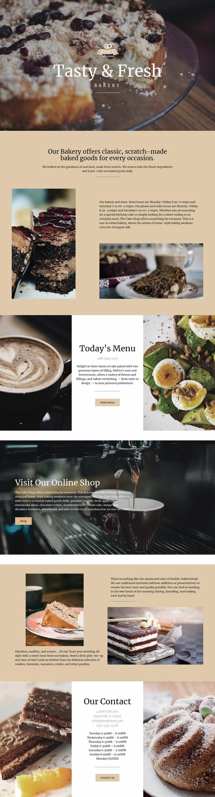 Tasty and fresh food Website Mockup