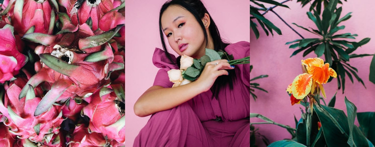 Pink color and floral motifs HTML Template
