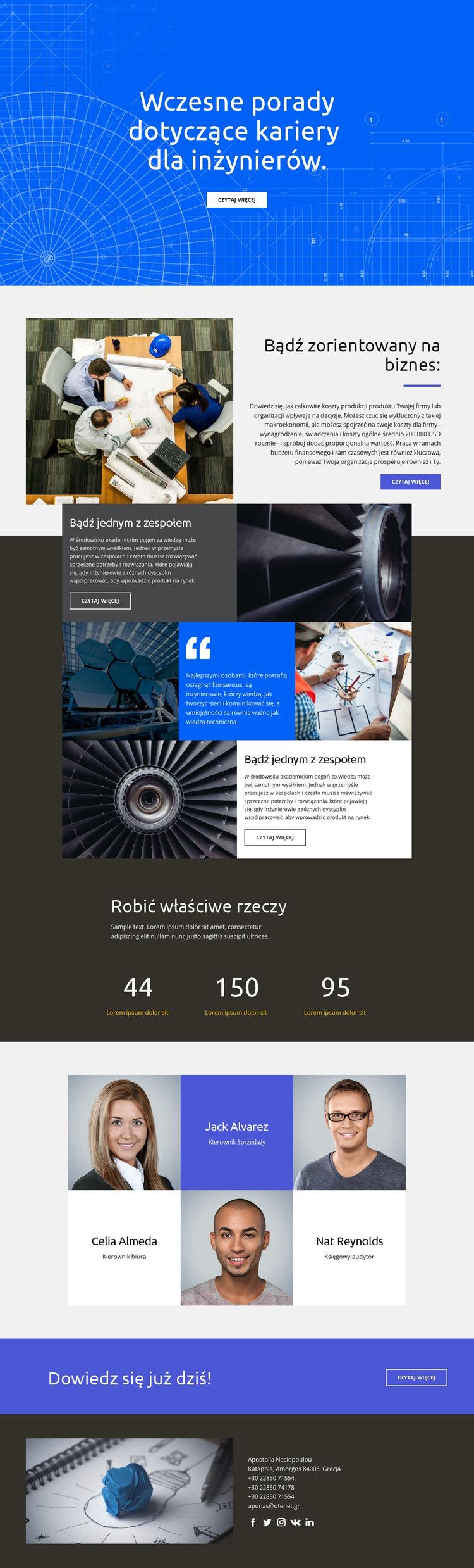 Porady dla inżynierów Szablon witryny sieci Web