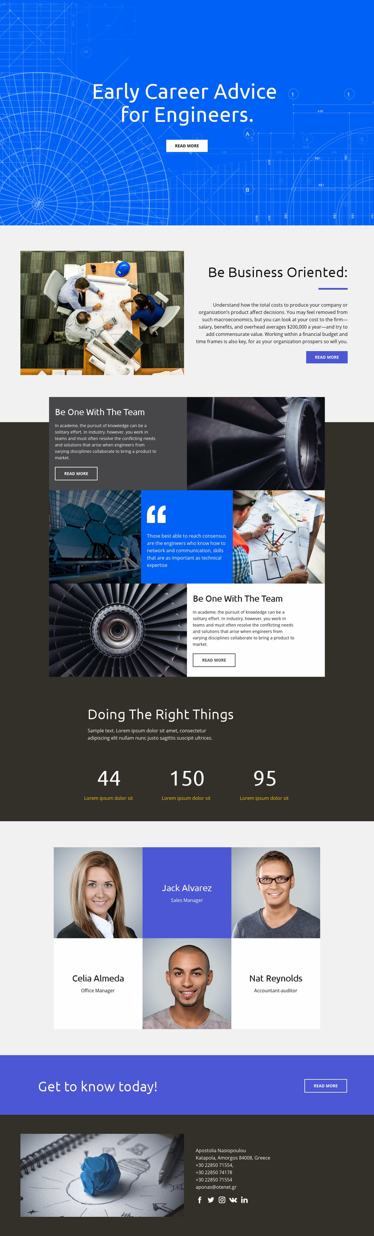 Advice for Engineers Web Page Designer