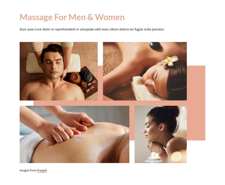Massage for men and women Homepage Design