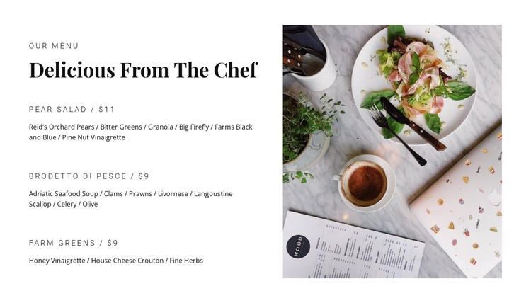Popular dishes from the menu CSS Template