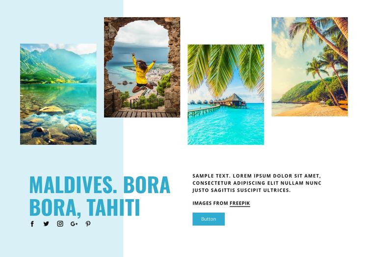 Maldives, Bora Bora, Tahiti One Page Template