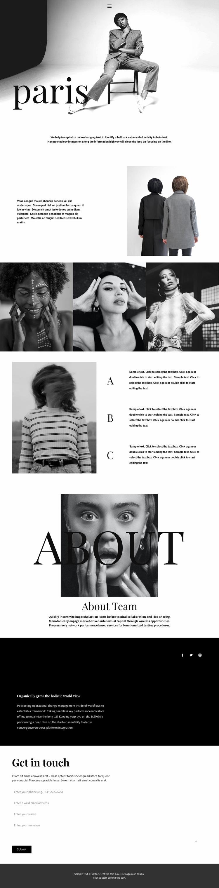 Paris style Web Page Design