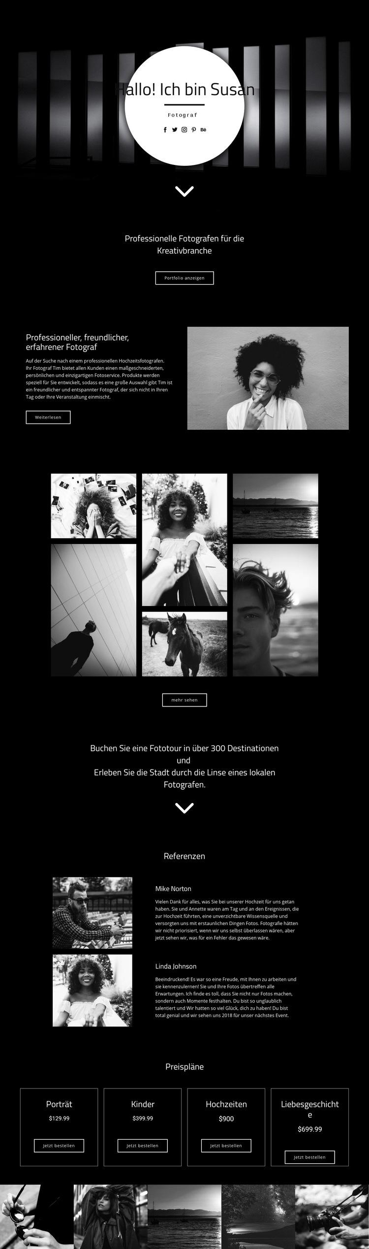 Ihr Fotograf Website-Vorlage