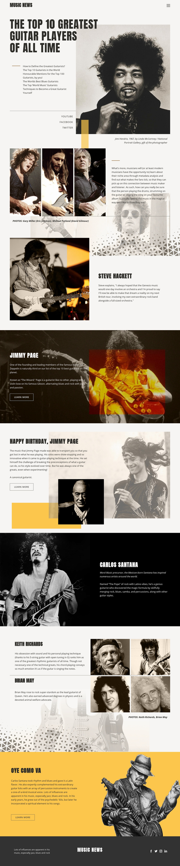 The Top Guitar Players Web Page Design