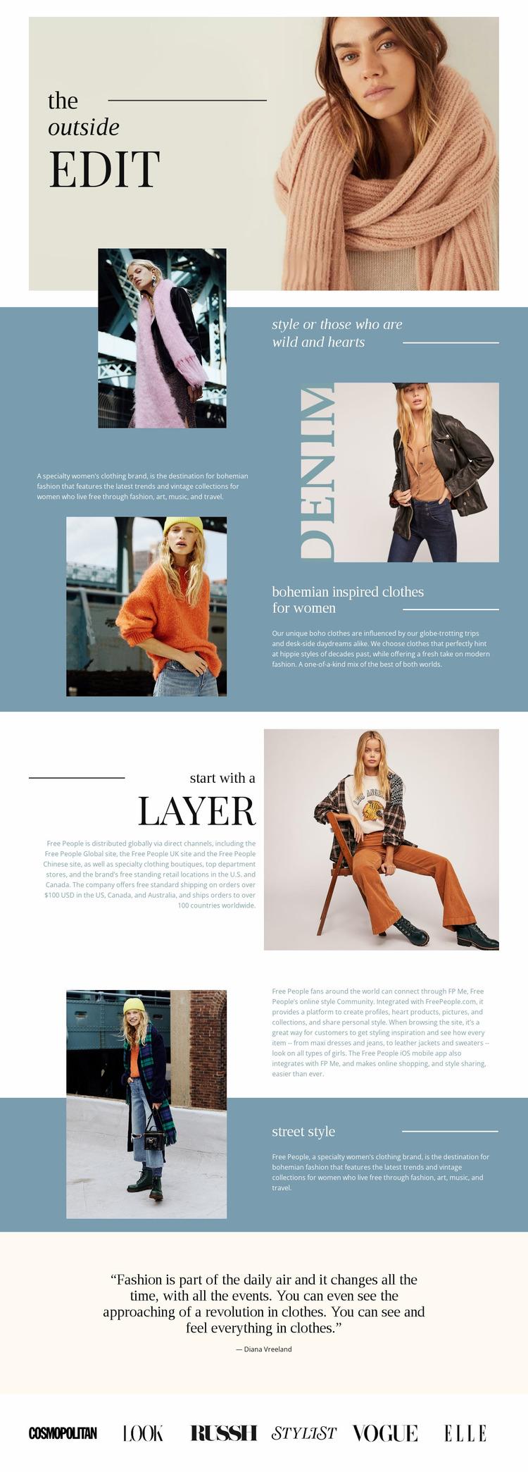 Ideas for autumn looks Website Mockup