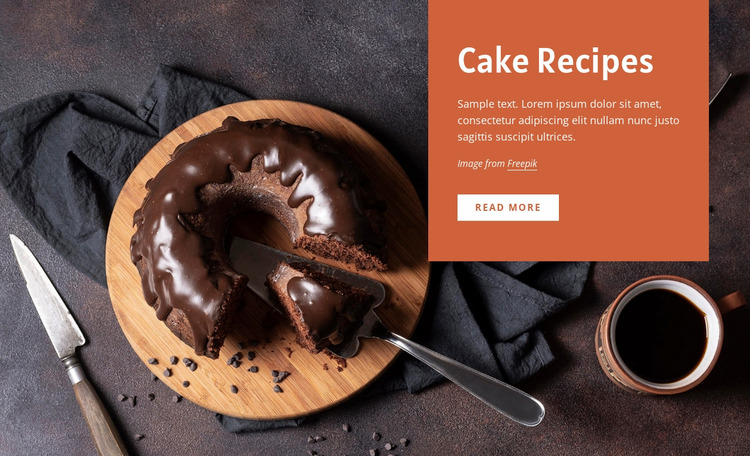 Cake recipes WordPress Website Builder