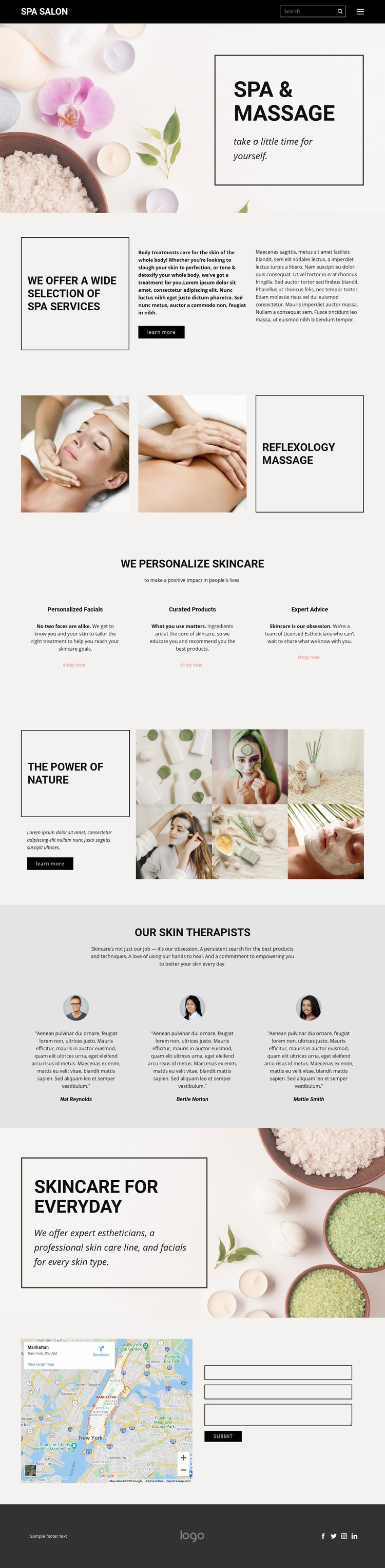 SPA and massage Web Page Design
