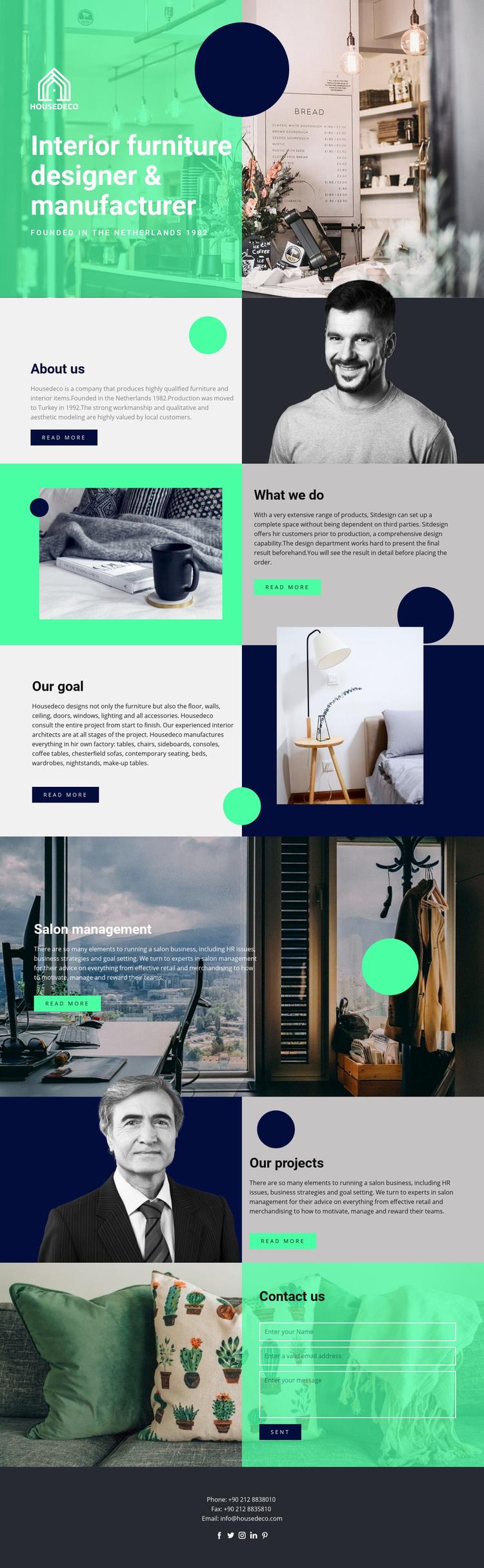 Interior furniture Web Page Designer