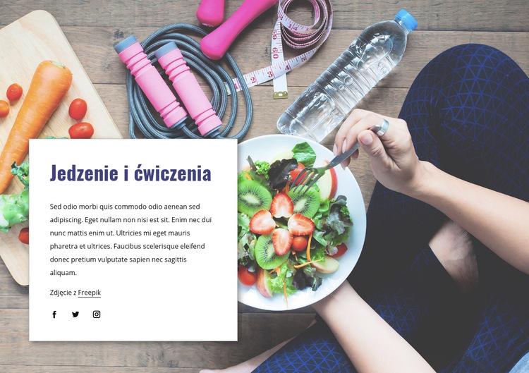Jedzenie i ćwiczenia Szablon witryny sieci Web